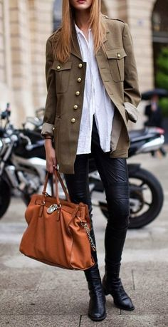 Curating Fashion & Style: Street A military jacket, long gauzy white blouse, and black casual pants with a go everywhere tote.