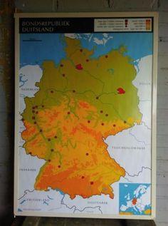 Vintage Schoolkaart Dubbelzijdig  Belgie-Luxemburg en Duitsland