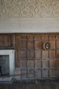 Chastleton House, Oxfordshire. Early Jacobean period - English country home built between 1607 and 1612. View of the Long Gallery with water-damaged panelling.