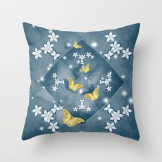 Throw Pillow Butterflies and mandala with flowers in blue by Wendy Townrow on Society6