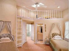 Girls bedroom with built in loft