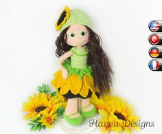 PATTERN   Sunfower Doll by HavvaDesigns on Etsy