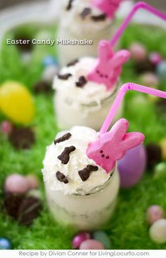 Robin's Egg Easter Candy Chocolate Shake Recipe garnished with Peeps. A perfect treat for leftover Easter Candy!