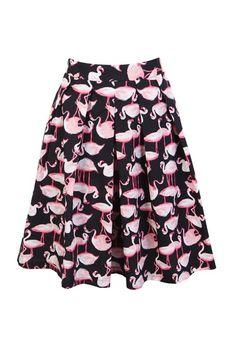 Flamingo Prints Retro Full Skirt
