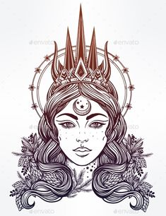 Fantasy Nothern Queen Vector Illustration by itskatjas Hand drawn beautiful artwork of fantasy the Nothern Queen portriat. Winter, fantasy, spirituality, tarot, occultism, tattoo art, c
