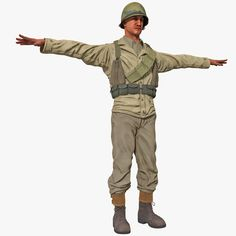 3D American Wwii Infantry Soldier Model - 3D Model