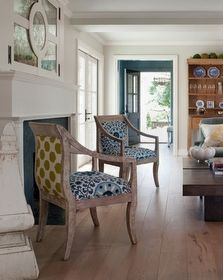 Great idea to refinish chairs-like the different fabric on the back
