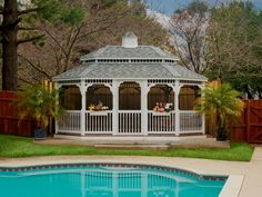 Gazebos are available with a pagoda roof. You can choose to have a cupola on top as well.
