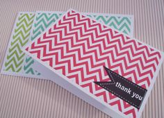 Chevron Thank You Cards - Black Pennant Flags, Chevron Thank You Card Set Color Choice, Modern Thank You Notes