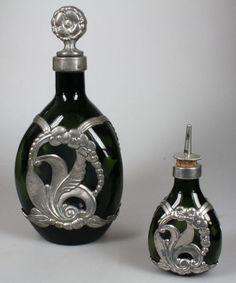 Online veilinghuis Catawiki: Georg Nilsson voor GERO - 2 flessen met art nouveau tinbeslag
