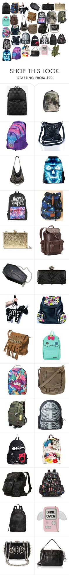 """""""Bags 24"""" by spellcasters ❤ liked on Polyvore featuring Actual Pain, High Sierra, Current Mood, Magali Pascal, Hot Topic, Victoria's Secret, Kate Spade, Ropin West, Alexander McQueen and Topshop"""