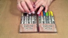 How to Use Tim Holtz Distress Crayons ~ Video Tutorial Card Making Tips, Card Making Techniques, Making Ideas, Tim Holtz Distress Ink, Distress Markers, Distress Ink Techniques, Embossing Techniques, Card Tutorials, Copics