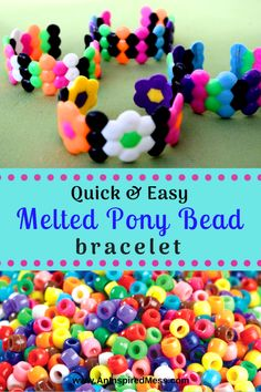 Fun and easy DIY pony bead craft for kids and teens. Melted pony bead bracelets are a trendy and cute DIY project and so easy to make! diy bracelets DIY Melted Pony Bead Bracelet Craft · An Inspired Mess Plastic Beads Melted, Melted Pony Beads, Pony Bead Projects, Pony Bead Crafts, Crafts With Pony Beads, Plastic Bead Crafts, Melted Bead Crafts, Beaded Crafts, Resin Crafts