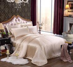 SALE Beige Champagne Silk  Bedding Set, Duvet Cover Set, Luxury Pure Silk bedding