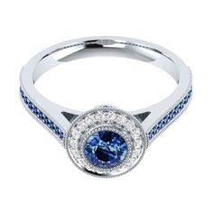 0.95 Carat Real Blue Sapphire With Diamond Engagement Halo Ring 14k Gold Jewelry #DemiraJewels #SolitairewithAccents #Wedding