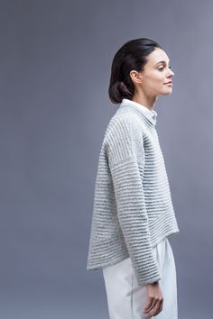 Koto - Sweater Pattern Purl Bee - knit in cream or grey tweed More