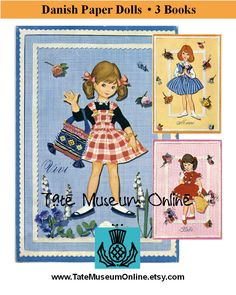 Paper Doll _ 3 Sets Vintage Danish Paper Dolls by TateMuseumOnline