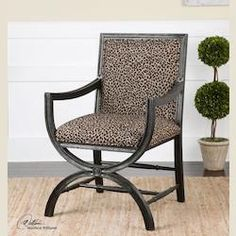 Golden Brown Animal Print With Birch Cyerra Safari Accent Chair