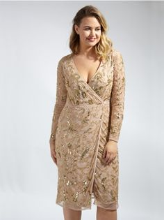 7e060ad731 Lovedrobe Luxe Mink Wrap Over Embellished Dress - Plus Size Plus Size  Womens Clothing