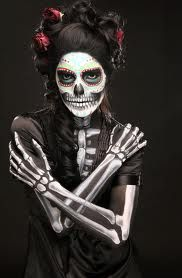 Sugar Skull face painting with costume