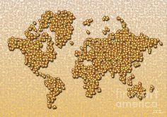 World Map Rolamento In Yellow And Brown by elevencorners. World map art wall print decor #elevencorners #maprolamento