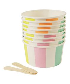 Look what I found on #zulily! Striped Ice Cream Cup & Spoon - Set of 16 #zulilyfinds