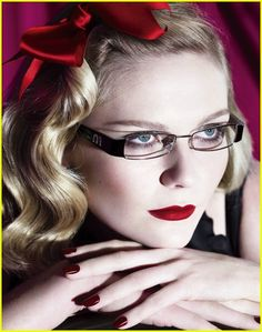 Kirsten Dust for MiuMiu!  Red lips