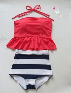 High waisted swimsuit with peplum top!