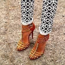 ZARA BROWN TAN LEATHER STUDDED HIGH HEEL SANDALS SHOES EUR 40, US 9