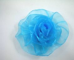 Organza Rose in Robins Egg Blue - Turquoise - Handmade Ribbon Flower - Brooch, Pin, Hair Clip, Shoe Clips - Pick Your Color