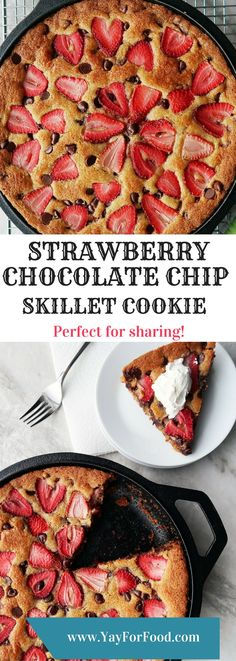 """""""A large strawberry chocolate chip cookie baked in a cast-iron skillet to create puffed crispy edges and a soft chewy center! A delicious…"""