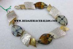 pulsera bicolor martelé y de plata con quiastolitas de dos tonos. en relojeria Ceballos