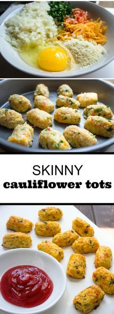 Skinny Baked Cauliflower Tots...can be made Primal...substitute out the bread crumbs... – More at http://www.GlobeTransformer.org