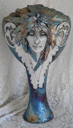 Raku Linda's Gift II Tall Vase by Leslie by LeslieAhrensOriginal, $350.00