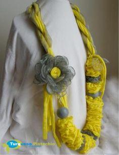 amarillo/gris collar tecido,organza costura