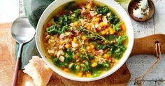 Serve up a satisfying soup with this speedy lentil, bacon and kale recipe.