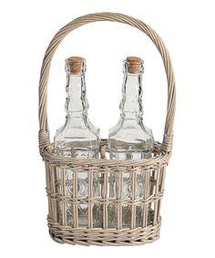 Look at this #zulilyfind! Glass Bottles & Wicker Basket Set by Established 98 #zulilyfinds