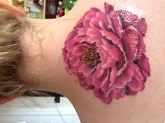 Peony Tattoo done by Jessica McDermot at Illuminate Tattoo in Santa Cruz CA