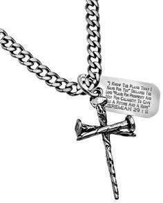 3 Nail Cross and Dog Tag Necklace-Jeremiah 29:11 – Celebrate Faith
