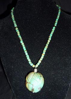 Carved turq pendant
