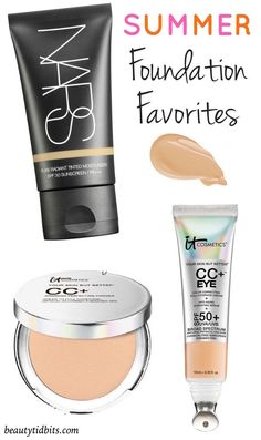 Best summer foundation : NARS Pure Radiant Tinted Moisturizer SPF 30; IT Cosmetics Your Skin But Better CC+ Airbrush Perfecting Powder SPF 50+; IT Cosmetics CC+ Eye Physical SPF 50 Color Correcting Concealer