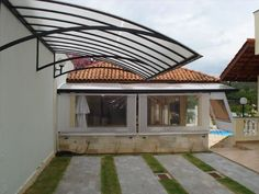 42 Modern Garage Canopy Ideas - Everybody around the world whether you are male or female, young or old, like to take care of their cars and other motor vehicles. This is highly unde. Pergola Curtains, Pergola Swing, Pergola Plans, Diy Pergola, Pergola Ideas, Gazebo Canopy, House Awnings, House Roof, Garage Canopies