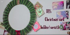 I want to make this so bad it's so cute! All you do is take spray paint A LOT of clothes pins green, glue them onto the wreath former with the mouth facing outward to hold your cards, and accessorize!