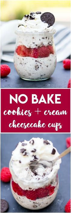 This No Bake Cookies and Cream Cheesecake Cups recipe is packed with Oreos and such an easy recipe for this summer. Don't waste your time in the kitchen--this one is ready in minutes! #cheesecake #oreos #oreocheesecake #nobake #nobakecheesecake #dessert
