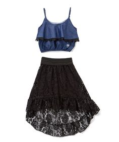 Take a look at this Chambray & Black Ruffle Camisole & Skirt - Girls today!