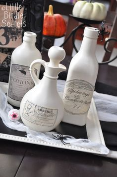 Potion Bottles. Saw this and thought of my Mindy friend. Once my boys are a little older and less mischievous, I need to start a collection just like hers...