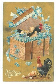 Vintage Easter Greeting Postcard with Chickens, Roosters & Chicks. $4.00, via Etsy.