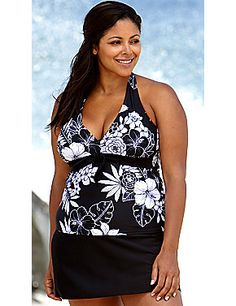 4b22ea17ae0e1 Beach Belle Midnight Bouquet Plus Size Halter Tie Front Skirtini  catherines.com Swimsuits For All