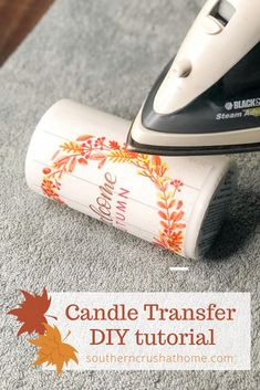 Candle Transfer DIY Create one of a kind candles using this easy diy napkin transfer technique. Unique gifts from wax candles or battery operated candles, iron on transfer of photos, tissue, or napkins. Diy Candles Easy, Homemade Candles, Unique Candles, Battery Candles, Wax Candles, Velas Diy, Transférer Des Photos, Candle Making Business, Candle Craft