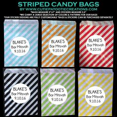 Candy Station Bags, Candy Buffet Bags, Striped Candy Bags, Wedding Candy Buffet Bags, Bar Mitzvah Candy Bags, Bat Mitzvah Candy Bags, B'Nai Mitzvah Candy Bags, Candy Buffet Ideas, Candy Buffet Pictures, Candy Buffet Supplies, Candy Buffet Stickers, Candy Station Supplies, Cutie Patootie Creations